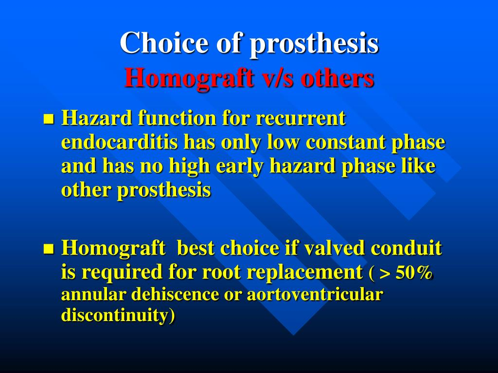 Choice of prosthesis