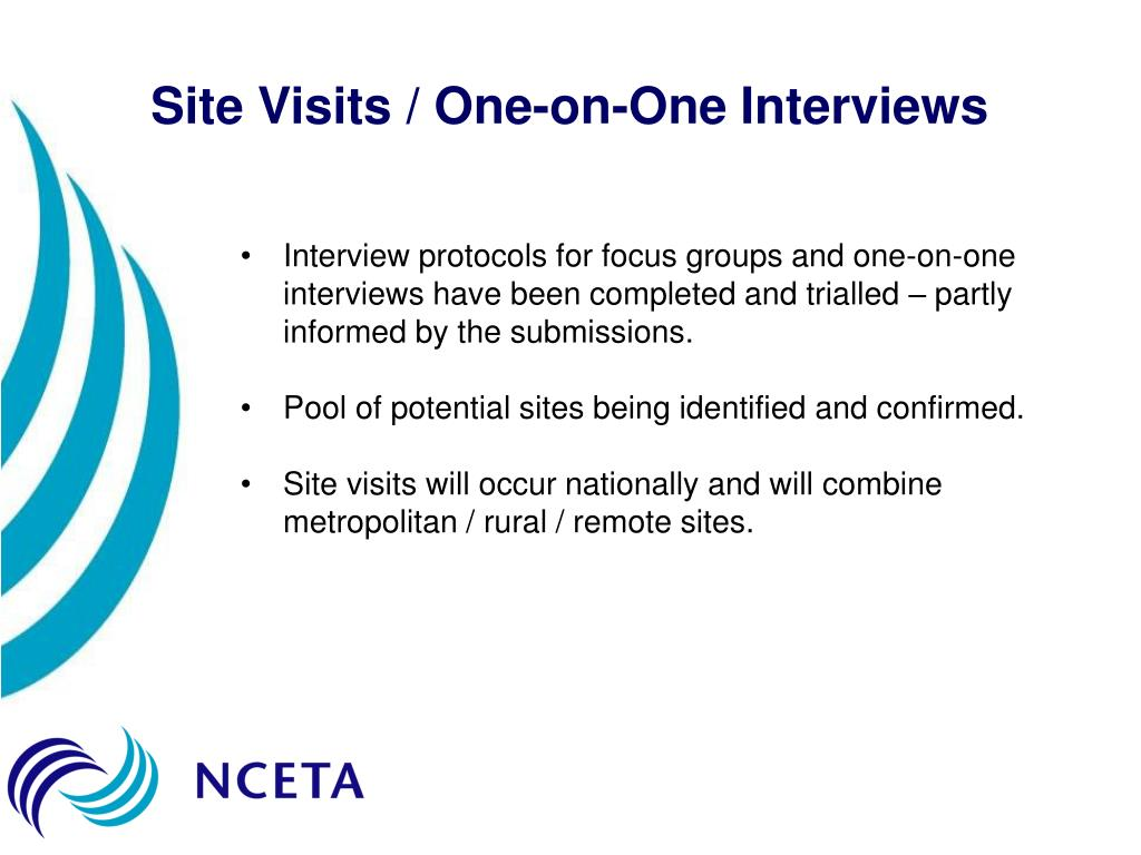 Site Visits / One-on-One Interviews