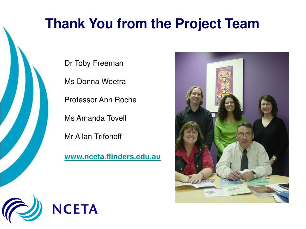 Thank You from the Project Team