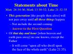 statements about time matt 24 34 36 mark 13 30 32 luke 21 32 35