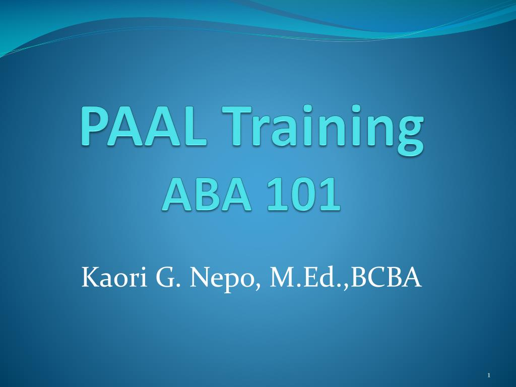 paal training aba 101 l.