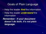 goals of plain language
