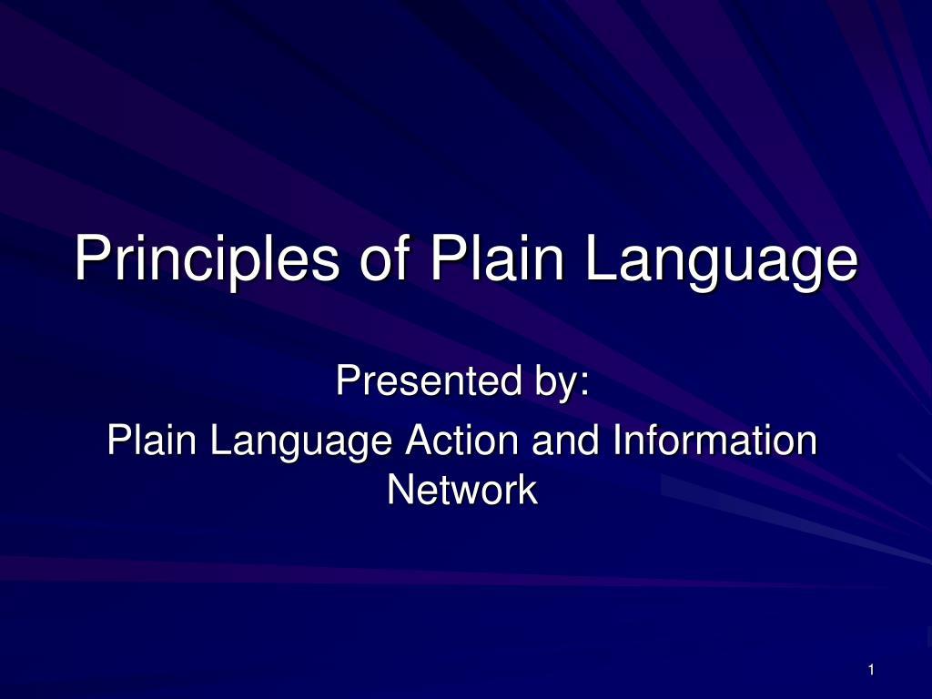 principles of plain language l.