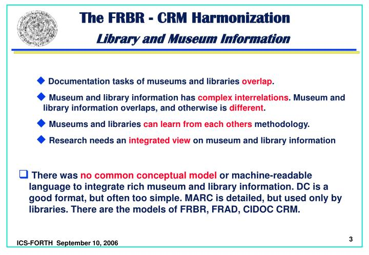 The frbr crm harmonization library and museum information3