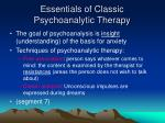 essentials of classic psychoanalytic therapy
