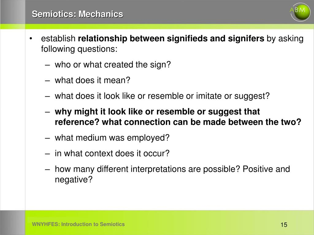 Semiotics: Mechanics