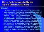 de la salle university manila vision mission statement18