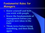 fundamental rules for managers