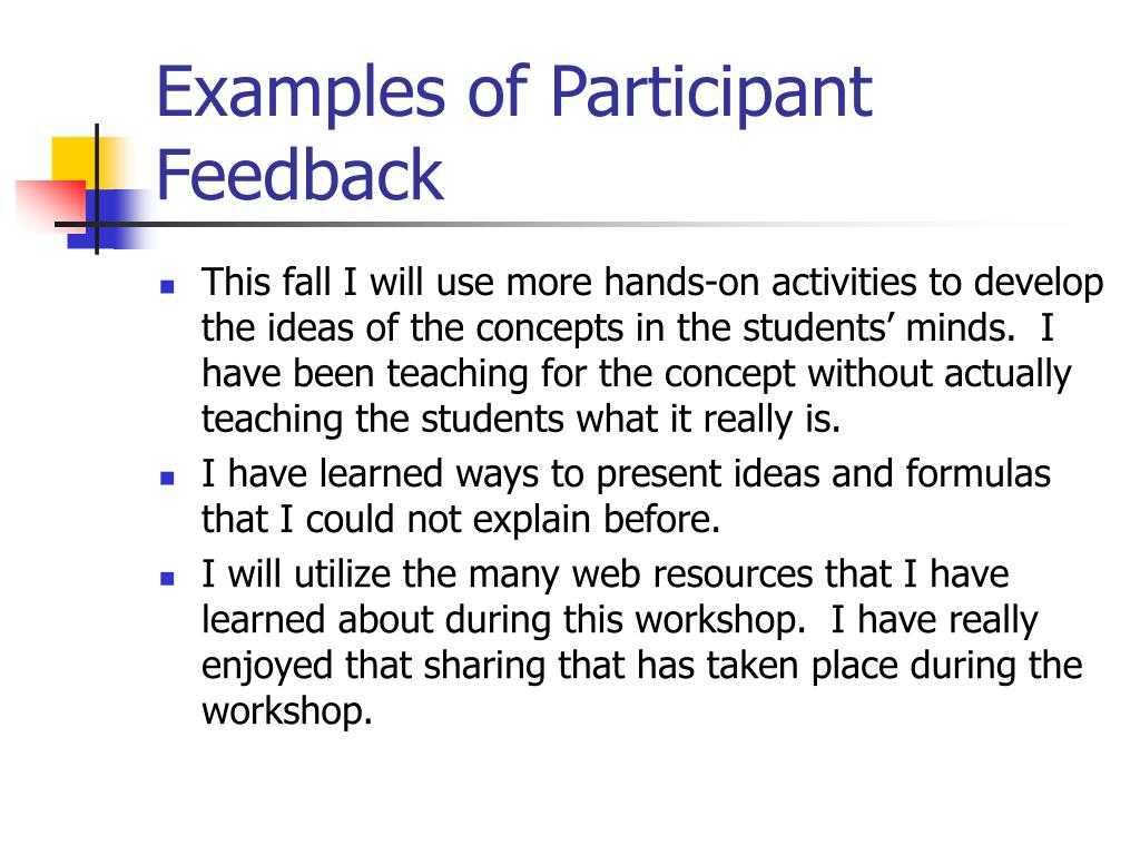 Examples of Participant Feedback