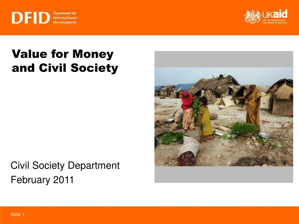 value for money and civil society l.
