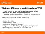 what does dfid want to see csos doing on vfm