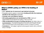 what is dfid s policy on vfm in its funding of ngos
