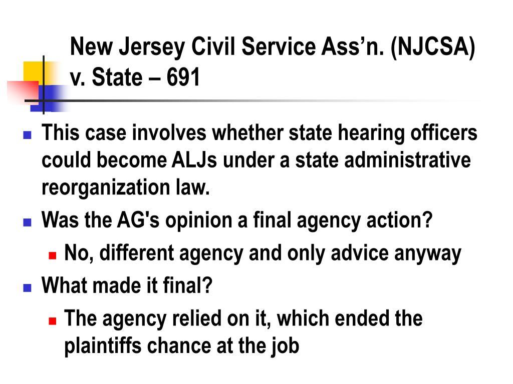 New Jersey Civil Service Ass'n. (NJCSA) v. State – 691