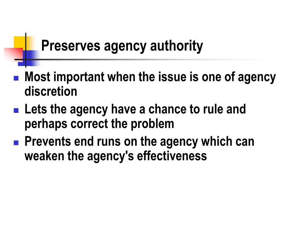 Preserves agency authority