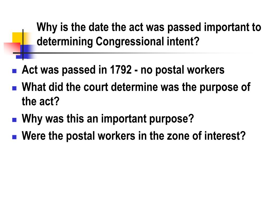 Why is the date the act was passed important to determining Congressional intent?