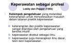 keperawatan sebagai profesi leddy dan pepper 1993
