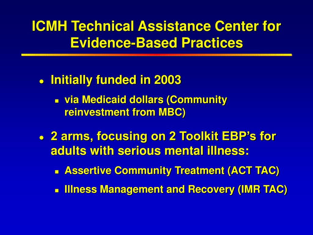 ICMH Technical Assistance Center for Evidence-Based Practices