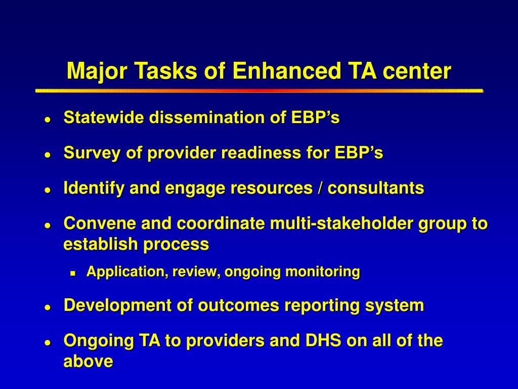 Major Tasks of Enhanced TA center