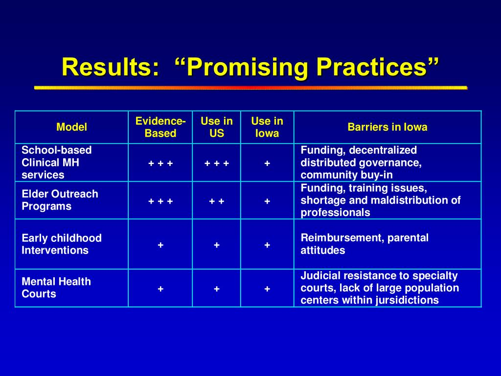"""Results:  """"Promising Practices"""""""