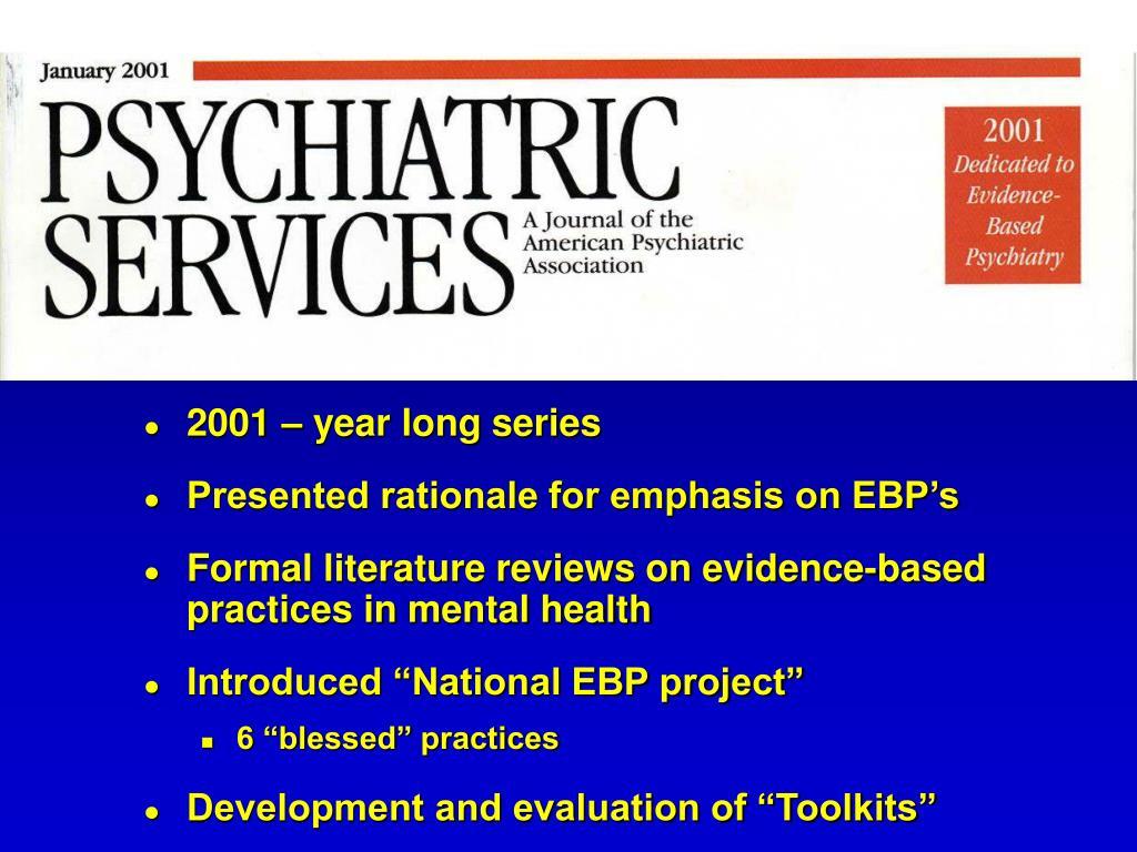 2001 – year long series