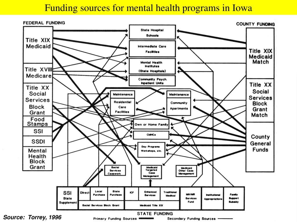 Funding sources for mental health programs in Iowa