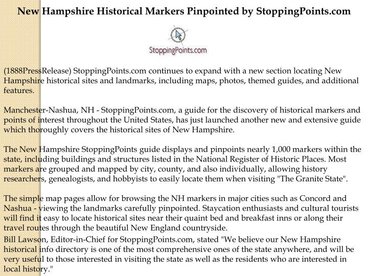 New Hampshire Historical Markers Pinpointed by StoppingPoints.com