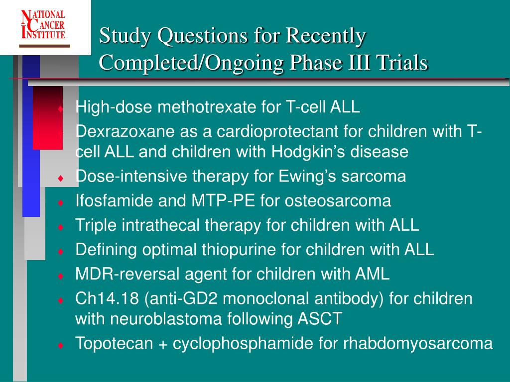 Study Questions for Recently Completed/Ongoing Phase III Trials
