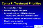 coma pt treatment priorities