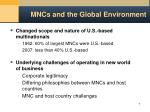 mncs and the global environment