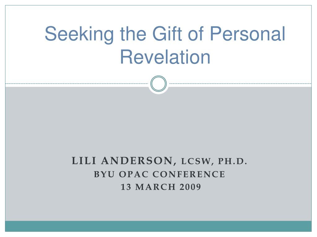 Seeking the Gift of Personal Revelation