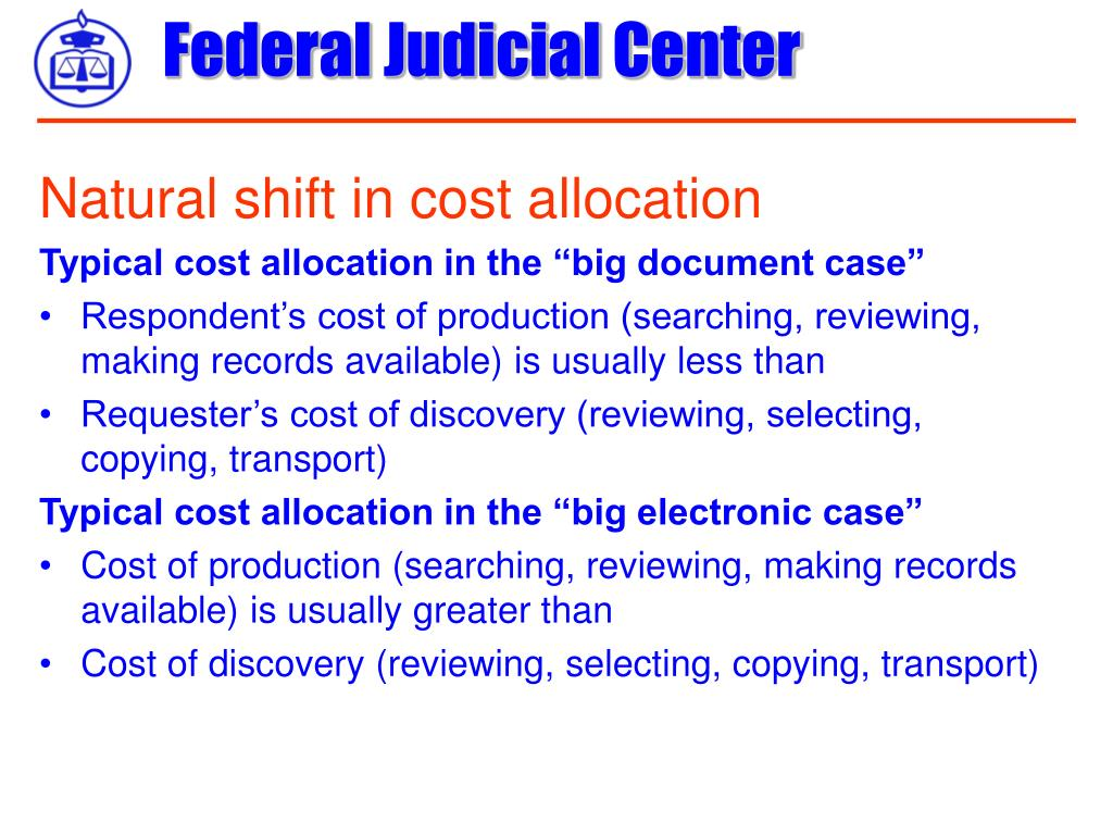 Natural shift in cost allocation
