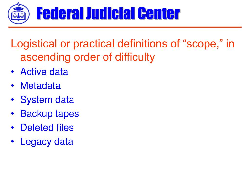 "Logistical or practical definitions of ""scope,"" in ascending order of difficulty"