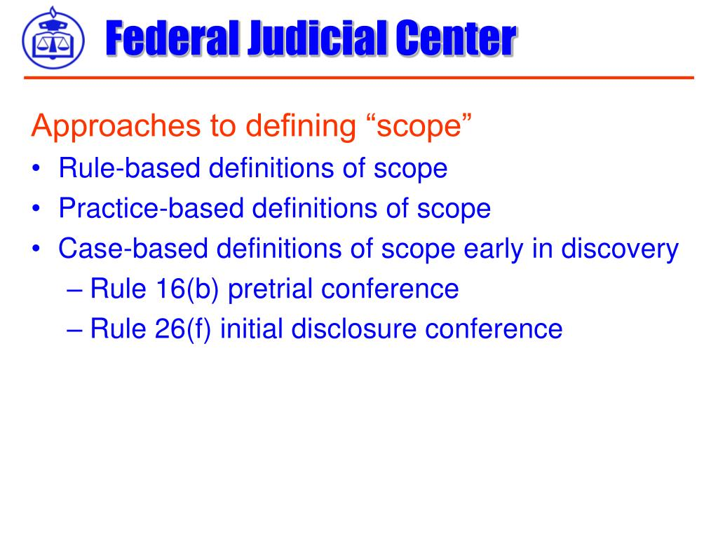 "Approaches to defining ""scope"""