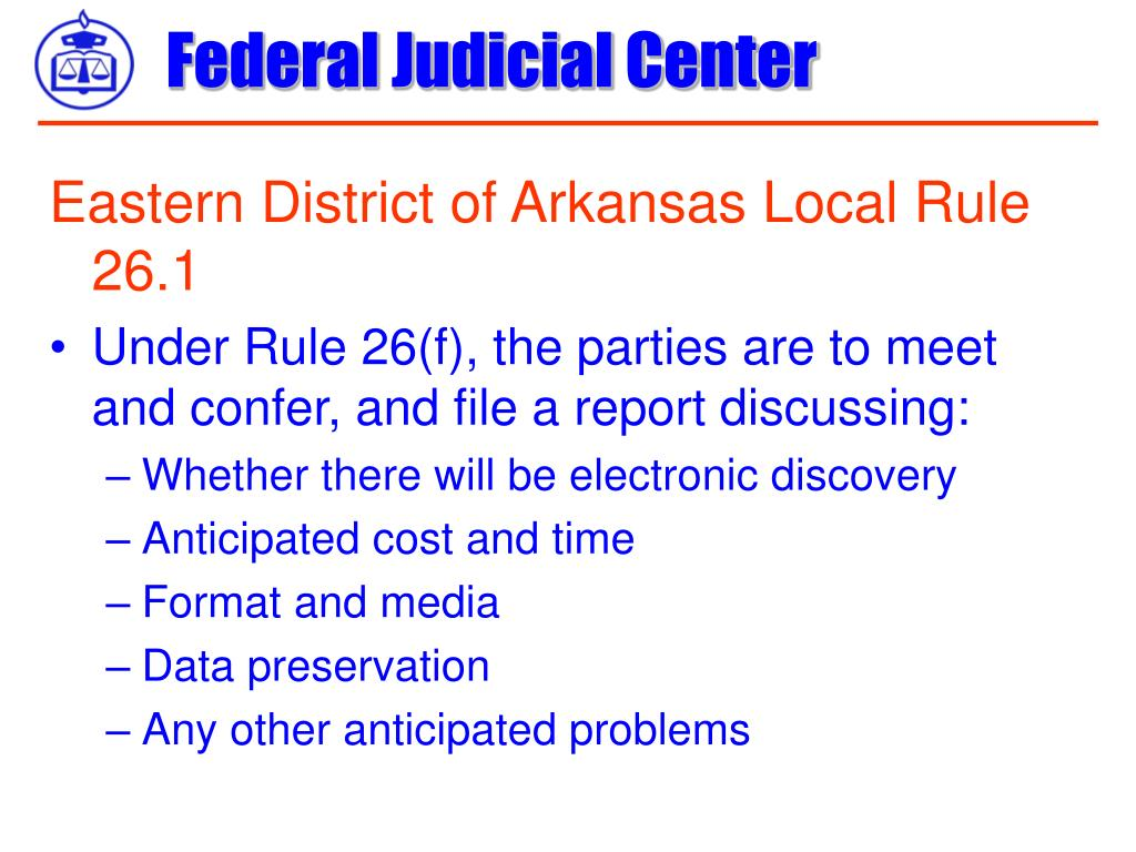 Eastern District of Arkansas Local Rule 26.1