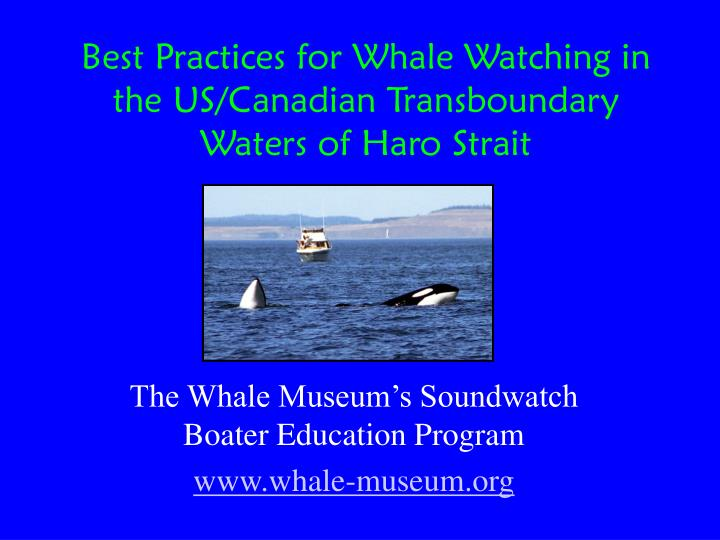 Best practices for whale watching in the us canadian transboundary waters of haro strait