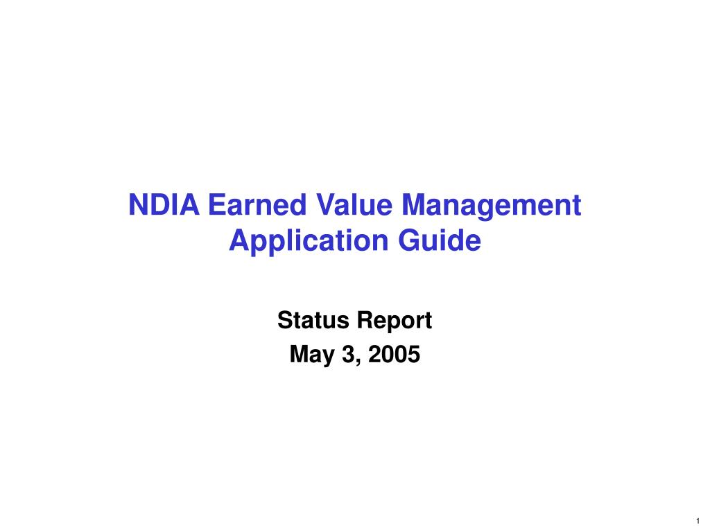 ndia earned value management application guide l.