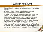 contents of the act
