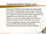 implementation plans cont