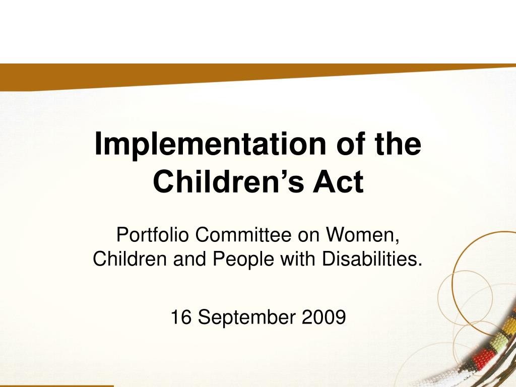 portfolio committee on women children and people with disabilities 16 september 2009 l.