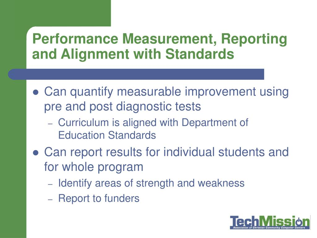 Performance Measurement, Reporting and Alignment with Standards