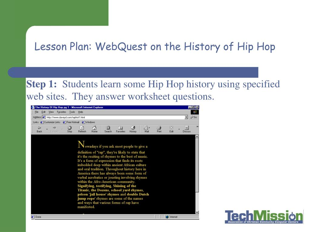 Lesson Plan: WebQuest on the History of Hip Hop