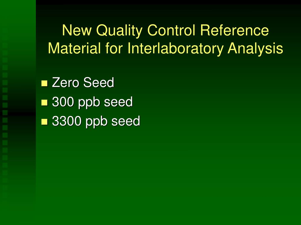 New Quality Control Reference Material for Interlaboratory Analysis