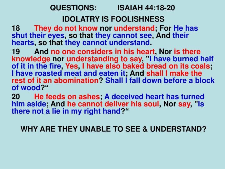 QUESTIONS:ISAIAH 44:18-20