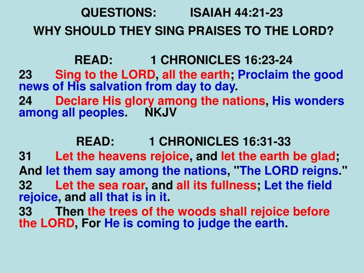 QUESTIONS:ISAIAH 44:21-23