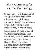 main arguments for kantian deontology