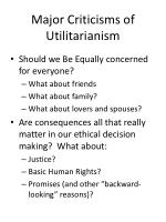 major criticisms of utilitarianism