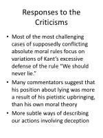 responses to the criticisms