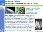 hurricane control new dod nasa noaa security mission
