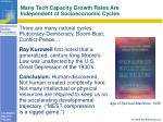 many tech capacity growth rates are independent of socioeconomic cycles