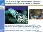 the future of high density urban transport underground automated highway systems